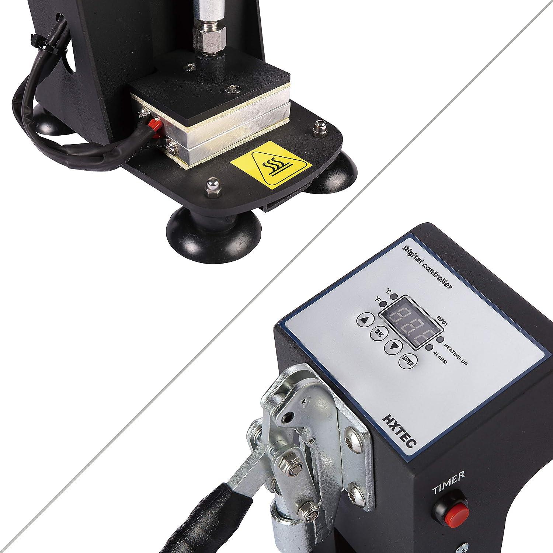 Black Mini Manual Heat Press Machine 1000lbs Max Down Force Hot Presser 2x3 Inch Dual Heating Plates LCD Controller 300W Shirt Heat Press Transfer Sublimation Press Machine