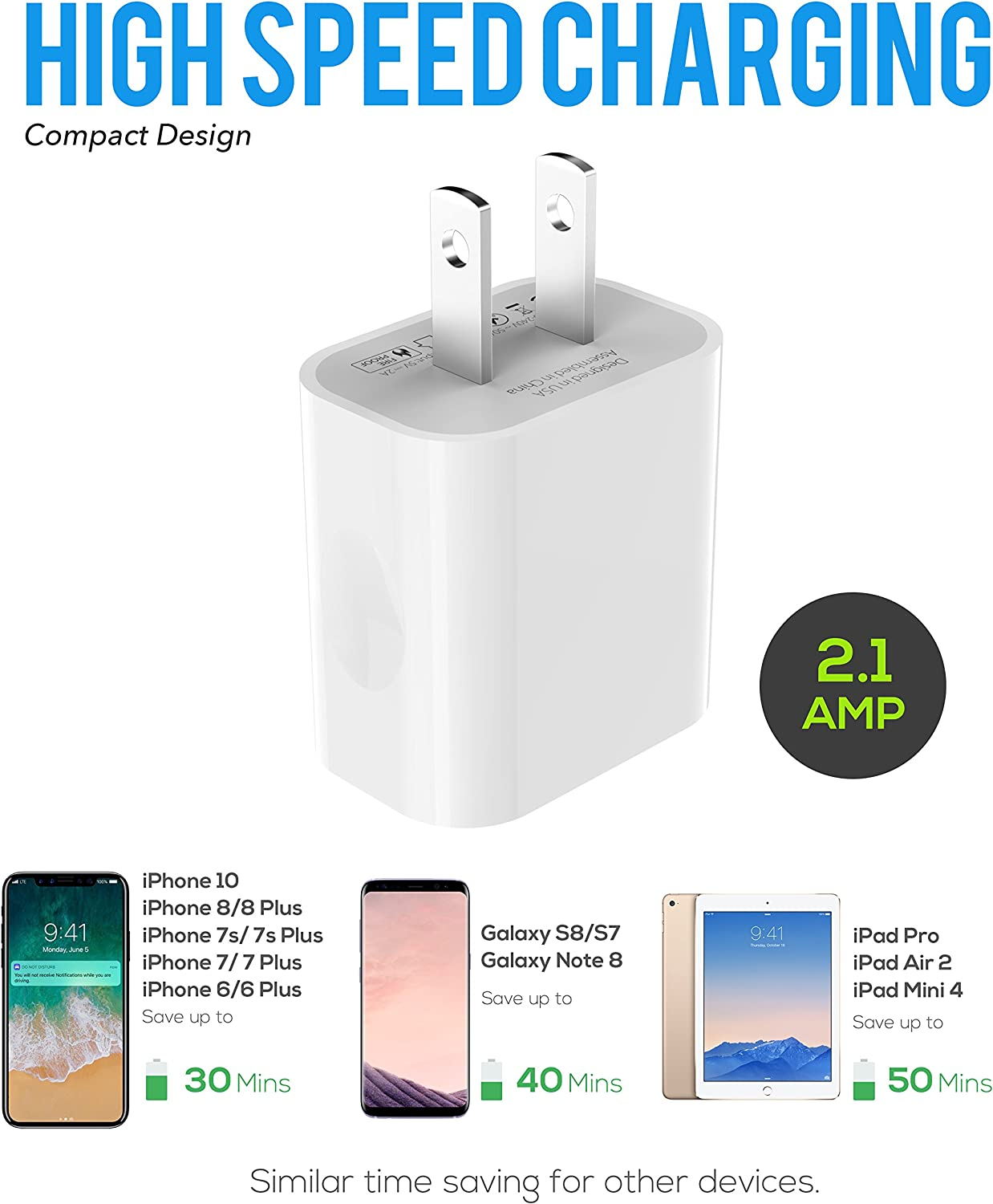iPhone 8 Charger Set iPhone X 7 Plus 7 6 8 Plus 8 6S plus 5W 2.1A Power Adapter and Apple MFi Certified Lightning to USB Cable Kit by Ixir 6S 1 Wall Charger + 1 Cable