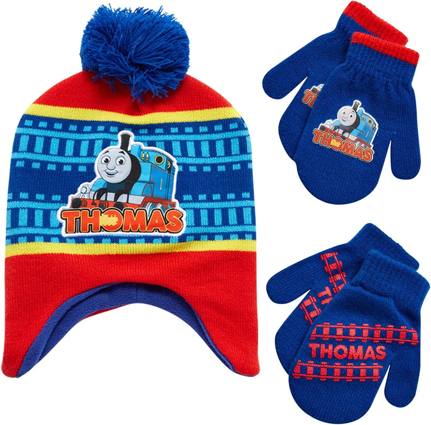 Nickelodeon Boys' Thomas The Train Winter Hat and Mitten Gloves Set (Toddler), Size Age 2-4, Thomas Train Blue: Clothing