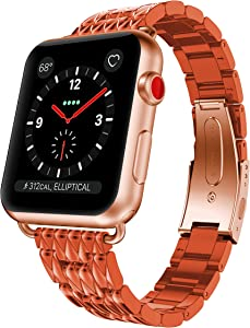ANCOOL Compatible with Apple Watch Resin Band Series 6/5/4/3/2/1 38mm 40mm, Lightweight Resin Wristband with Stainless Steel Clasp Replacement for Apple Watch (Orange)