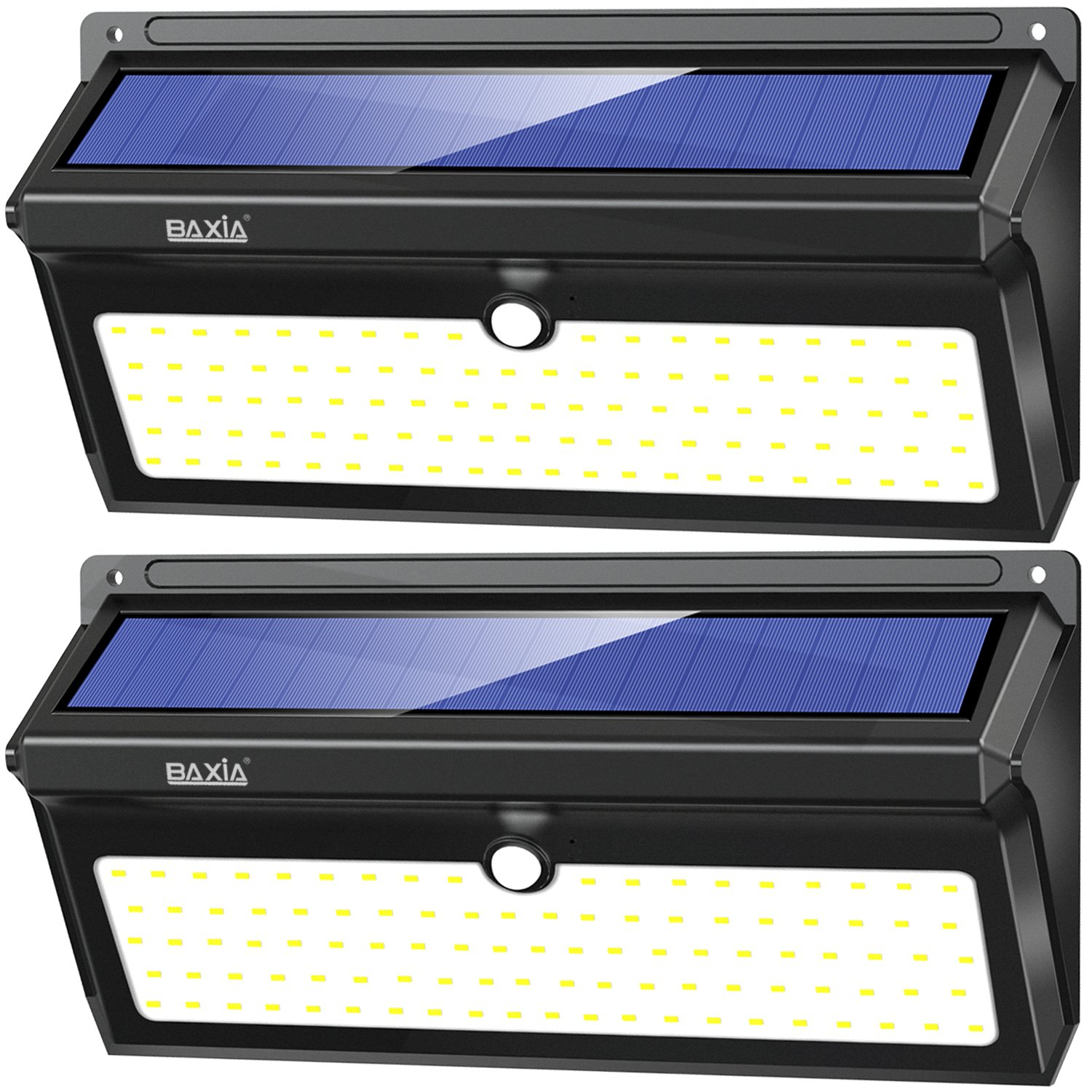 BAXIA TECHNOLOGY LED Solar Lights, Solar Motion Sensor Lights With Wide Angle, Upgraded Waterproof Super Bright Security Solar Wall Lights for Outdoor Garden, Front Door, Yard, Fence [2 Pack]