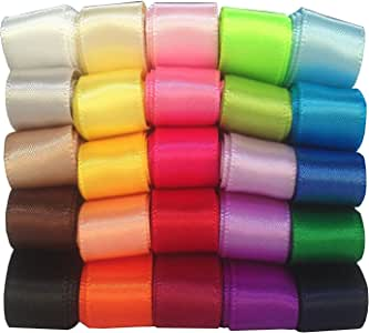 "DUOQU 25 Colors 50 Yards (25X2yd) 1/2"" Single Face Solid Satin Ribbon Multicolour Valued Packing"