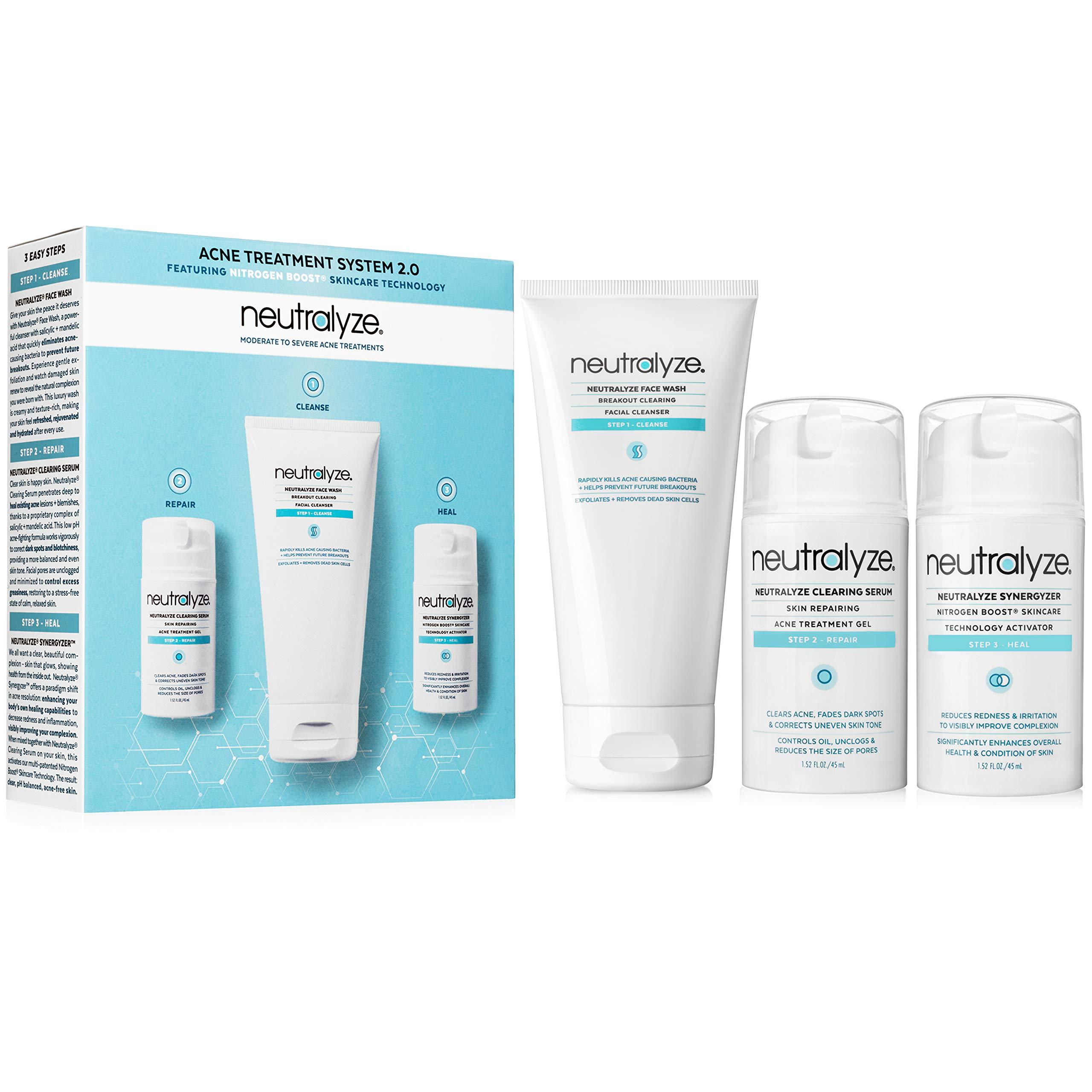Neutralyze Moderate To Severe Acne Treatment Kit 2.0 - Maximum Strength Acne Treatment System with 2% Salicylic Acid + 1% Mandelic Acid + Nitrogen Boost Skincare Technology