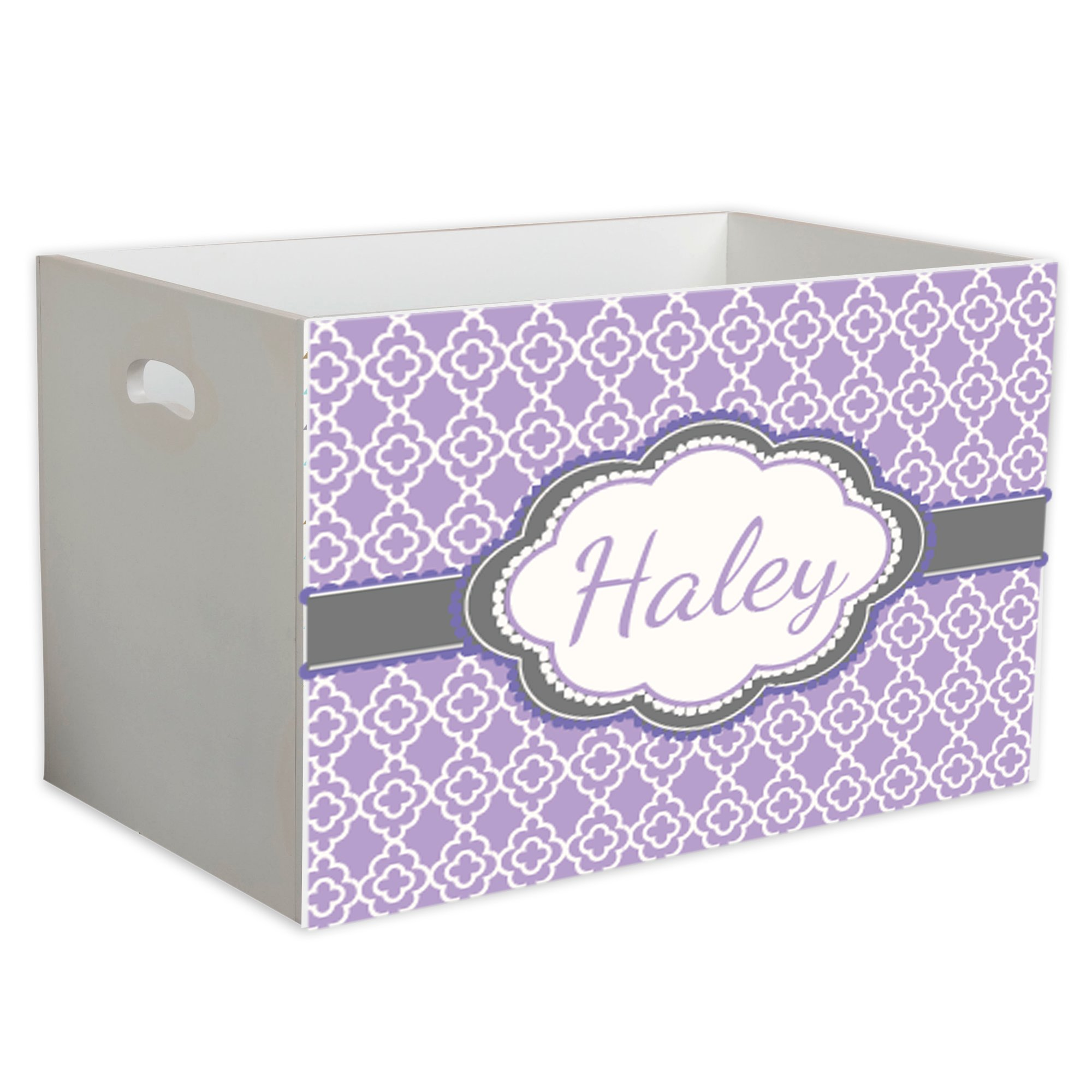 Personalized Lavender Quatrefoil w Grey Childrens Nursery White Open Toy Box