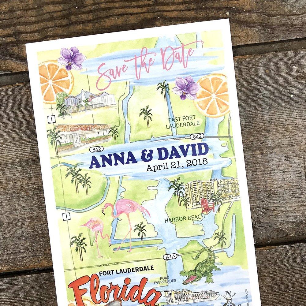 Amazon.com: Personalized Wedding Maps, Watercolor Wedding Maps, Illustrated Map, Wedding Invitation Map Insert: Handmade