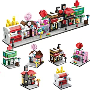 FUN LITTLE TOYS City Building Blocks with Shops, Building Bricks Party Favors for Kids, Educational STEM Toys Birthday Gifts for Boys & Girls