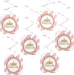 Big Dot of Happiness Little Princess Crown - Pink and Gold Princess Baby Shower or Birthday Party Hanging Decorations - 6 Count