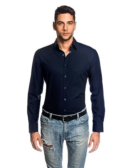 c92d6632fac3 Embraer Men s Shirt Slim-fit Fitted Kent Collar Classic Design Plain Solid  Colour 100% Cotton Non-Iron Long-Sleeve Designer Shirts for Men Formal  Office ...