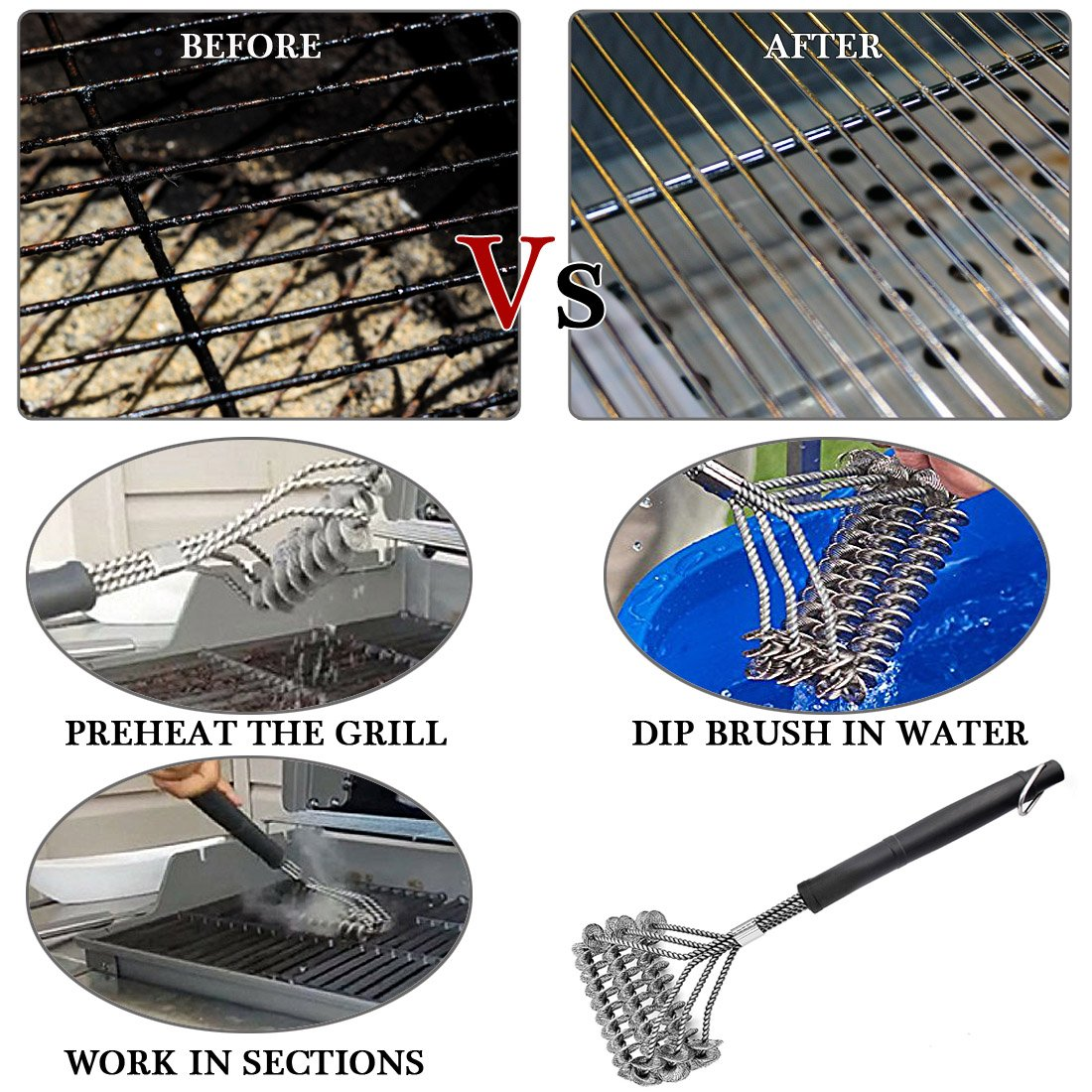 Bristle Free Grill Brush,3-Helix Bristle Free Clean Brush,Food Grade Stainless Steel 316 Barbecue Brush Fits Porcelain,Propane,Electric,Infrared,Iron and Weber Grill Grates,BBQ HaRuion Grill Brush