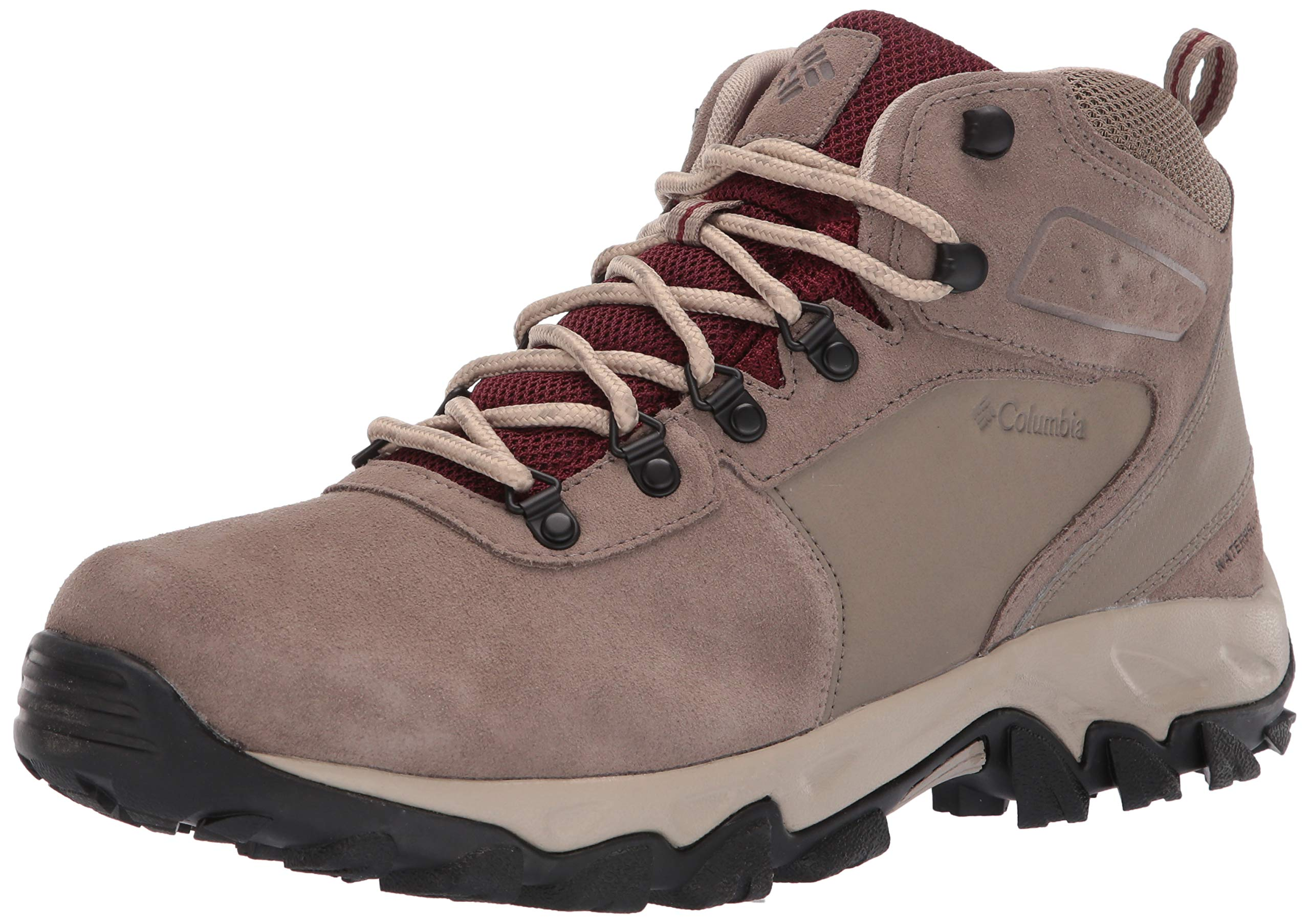 Columbia Men's Newton Ridge Plus II Suede Waterproof Boot Hiking, Pebble, deep Rust 7.5 Regular US