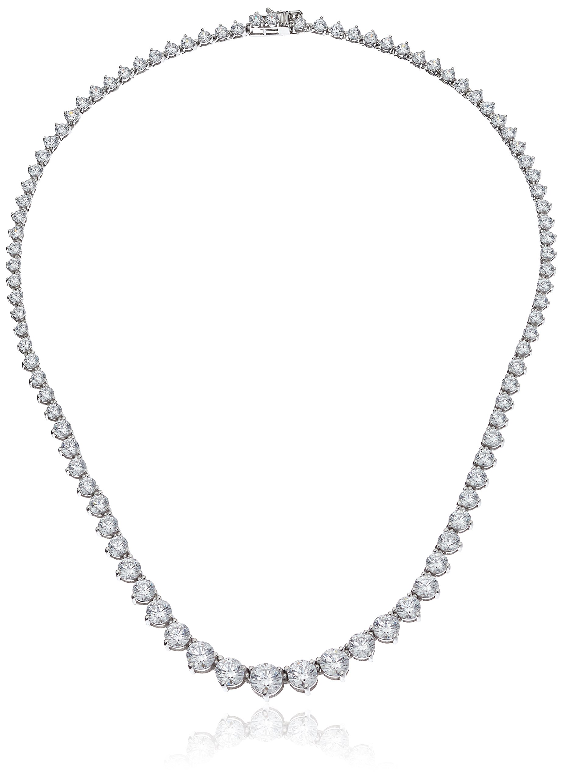 Platinum Plated Sterling Silver Riviera Necklace set with Graduated Round Cut Swarovski Zirconia (20.75 cttw), 17''