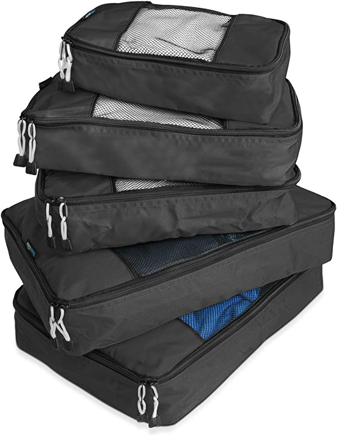 TravelWise Packing Cube System - Durable 5 Piece Weekender Plus Set (Black) best packing cubes