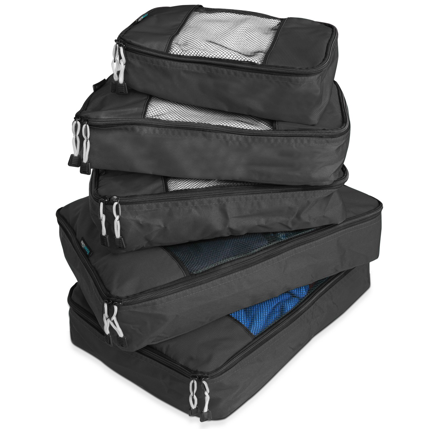 TravelWise Packing Cube System - Durable 5 Piece Weekender Plus Set (Black)