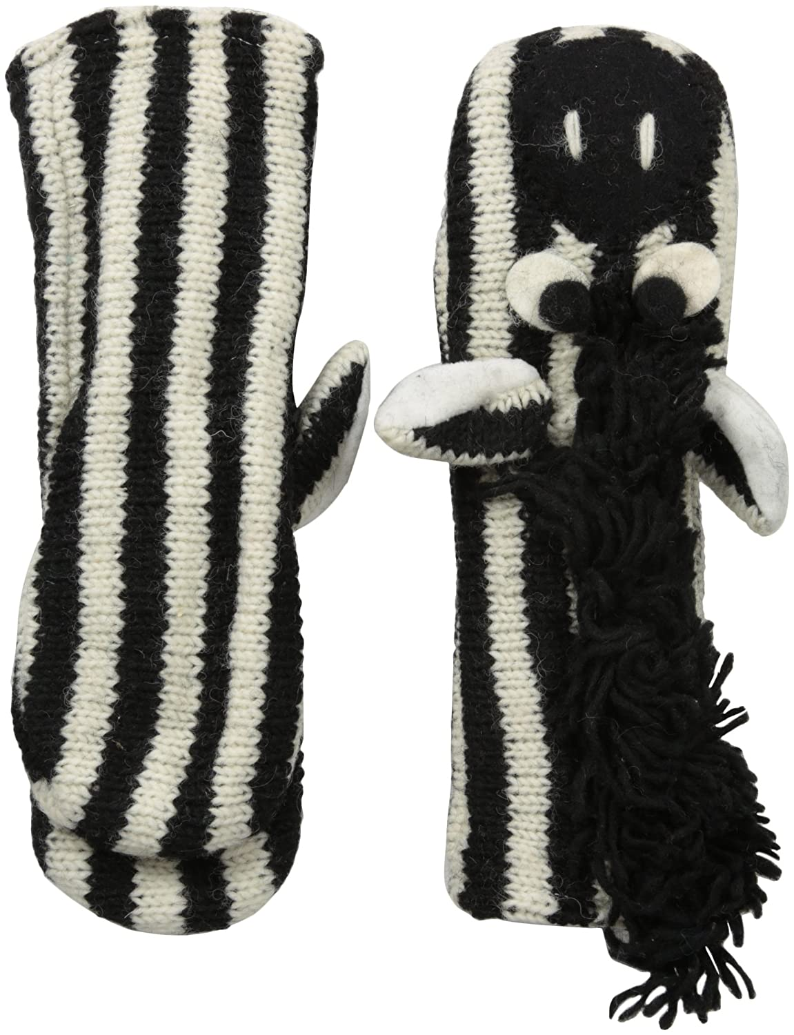 Nirvanna Designs MTZEBRA Zebra Puppet Mittens Black/White 4-11 Years mtzebra-White C