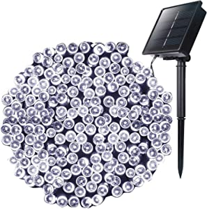 Outdoor Solar Christmas String Lights with 8 Lighting Modes, 72 Feet 200LED Waterproof Solar Powered Lights for Indoor Outside Xmas Patio Garden Yard Wedding Party Tent Tree Decor, Pure White, 1 Pack