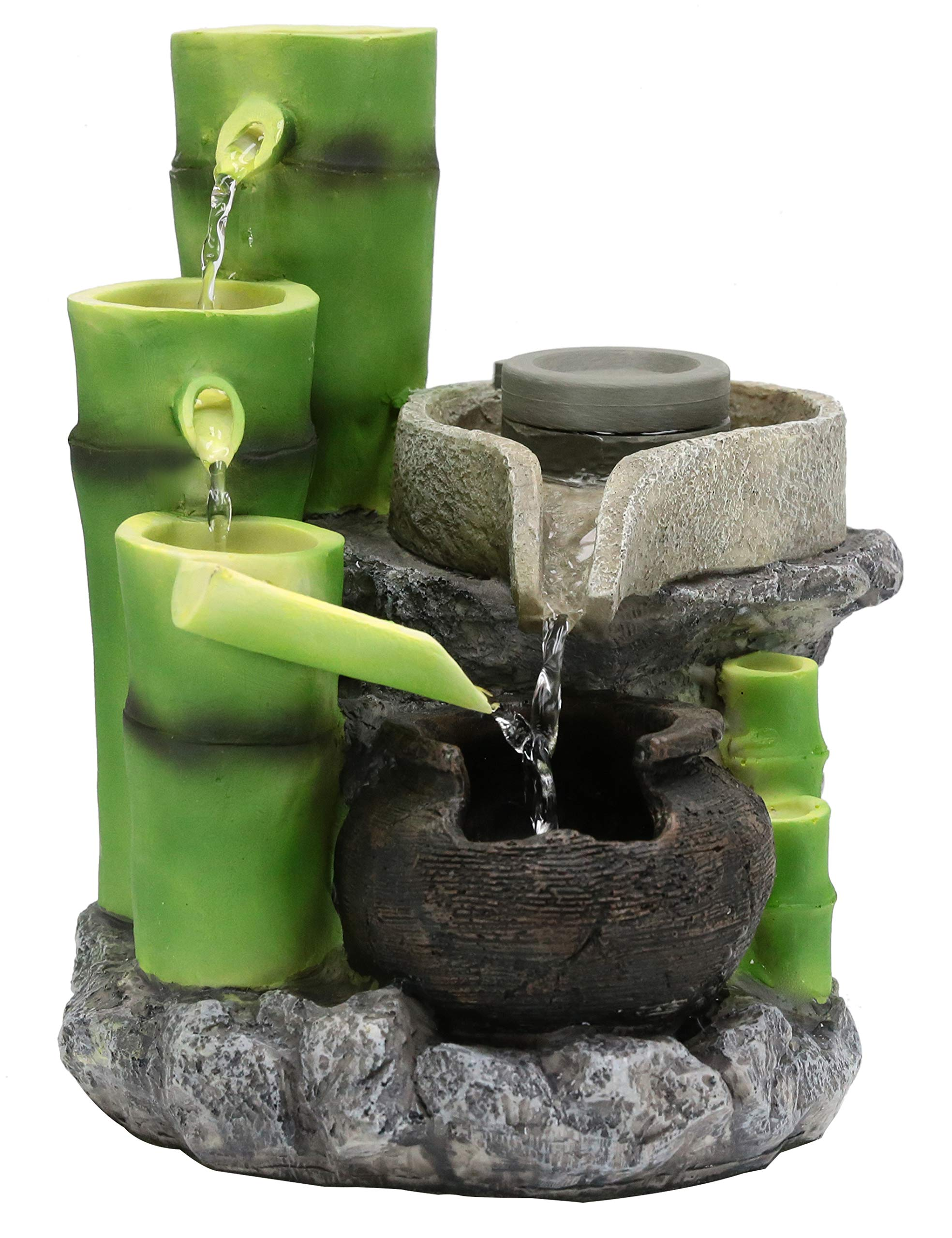 Fern Creek Balinese Inspired Tabletop Fountain with Dual Water Flows - Bali Fountain - Asian Fountain Indoor - Decorative Water Fountain - 8 W x 8 D x 10 H in by Fern Creek Home