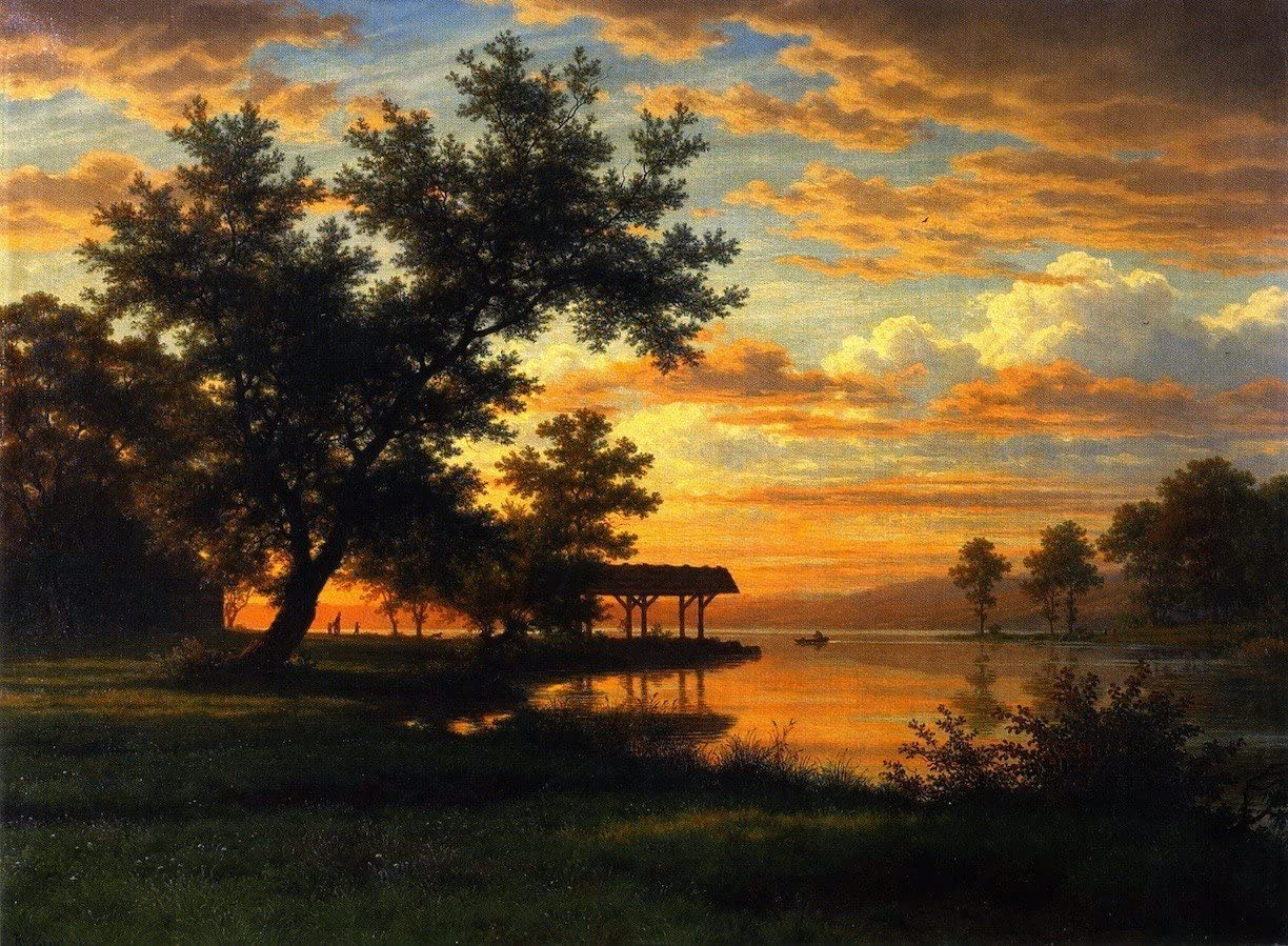 Canvas Print Wall Art - Evening On The Lakeside - by Robert Zünd - 20