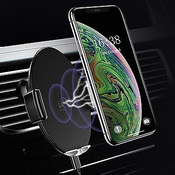 Soporte Móvil Coche Rejilla,Cargador Inalámbrico Rápido Soporte Teléfono Automatico Ajustable 360 Grados Rotación para iPhone X 8 8 Plus 7,Samsung S9 ...