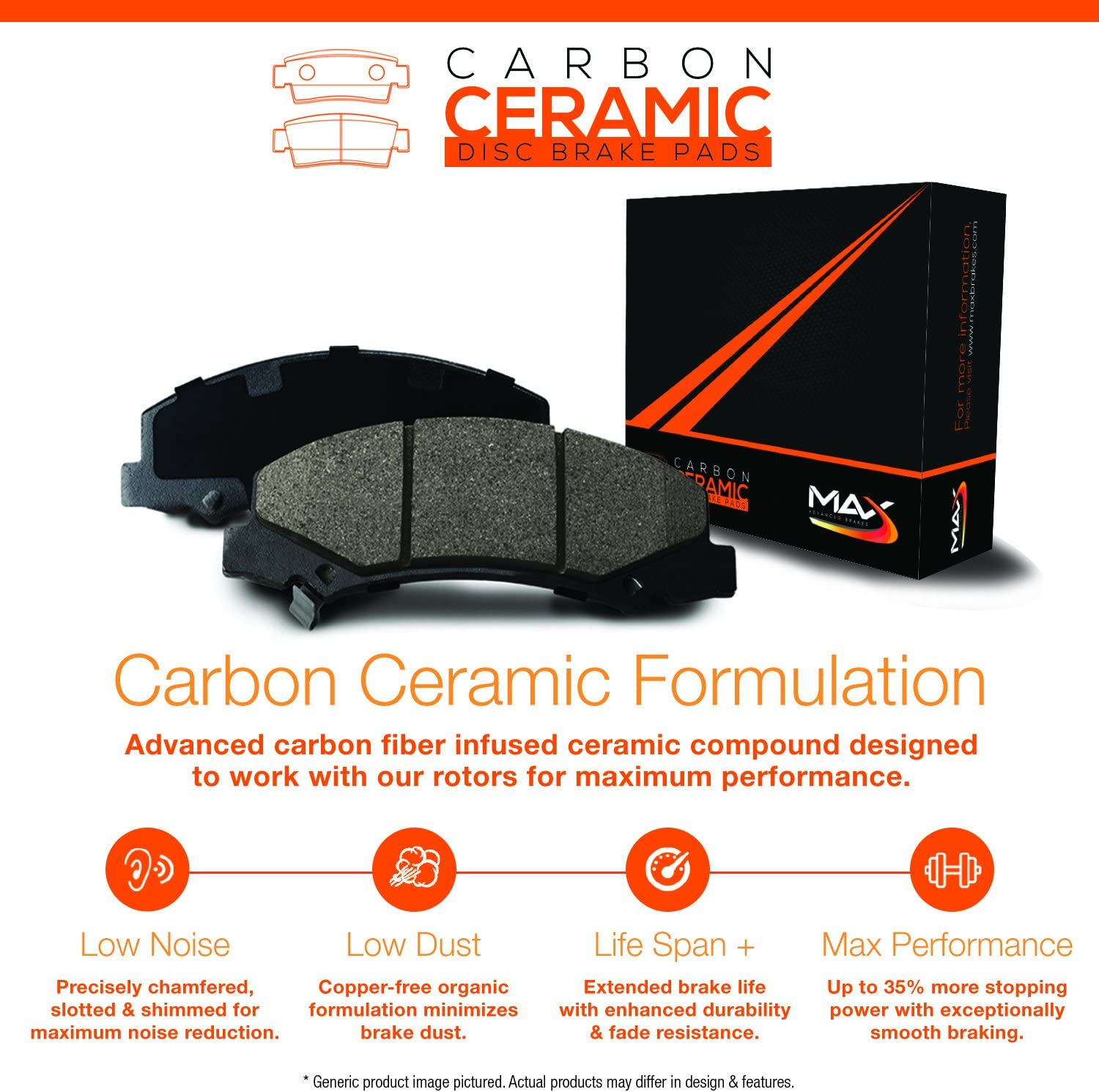 Max Brakes Front Carbon Ceramic Performance Disc Brake Pads KT041451 Fits 2012 12 Mazda CX-7