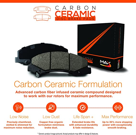 Max Brakes Rear Carbon Ceramic Performance Disc Brake Pads KT096352 2015 15 Audi A3//A3 Quttro w//282mm Diameter Rear Rotors Fits