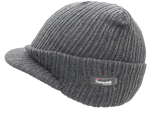 Mens Woolly Army Beanie Military Hat Cap Jeep Peaked Thinsulate Grey ... 1ae4304613b2