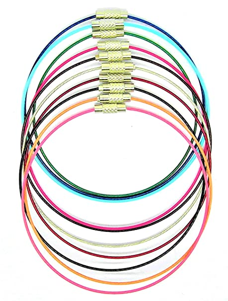Julz Beads 10 Memory Wire Bracelets Mixed Colours 22cm Chains Wire