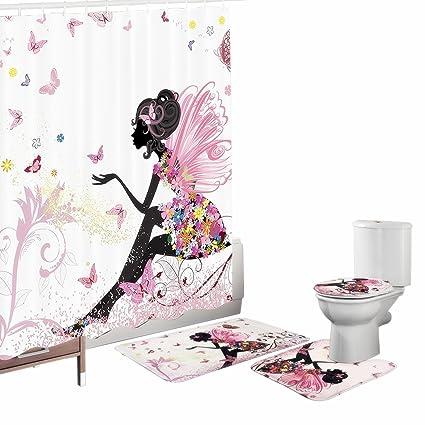 Amagical Flower Fairy Girl With Butterfly 16 Piece Bathroom Mat Set Shower Curtain