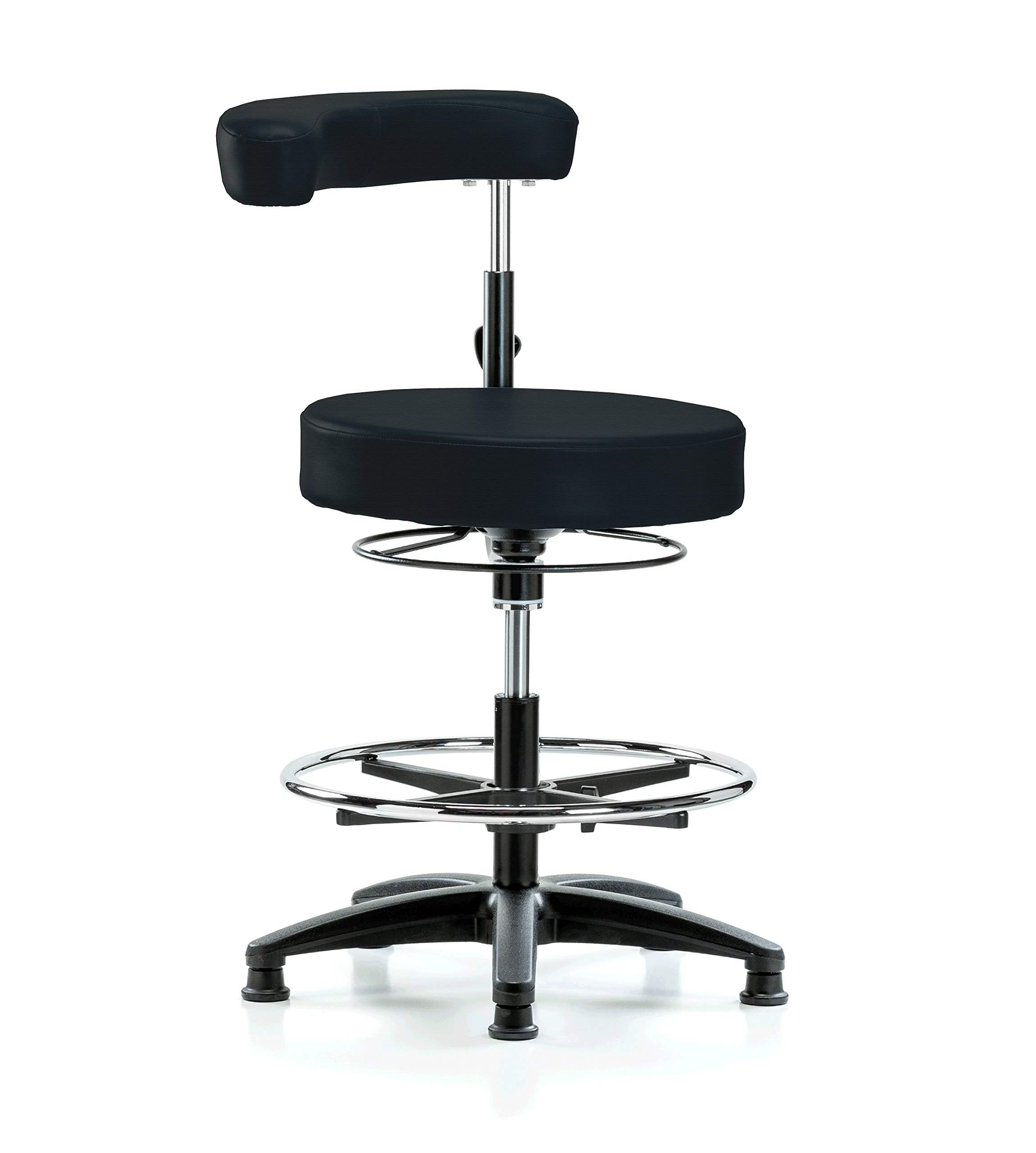 PERCH Dental Stool Adjustable Height with Procedure Arm and Foot Ring, Stationary Caps, Workbench Height (Black Fabric)
