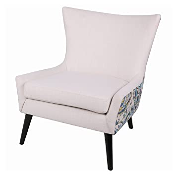New Pacific Direct 193134 1653 Zaraaa Arm Chair, White/Mazarine Paisley