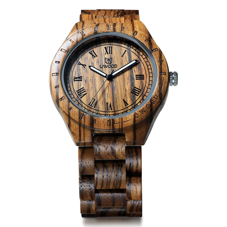 Buy Uwood Luxury Brand Zebra Sandal Wooden Mens Quartz Watches