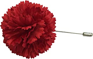 product image for Red Carnation Artificial Flower Fabric Lapel Boutonniere Pin for Men Made in USA (Red)