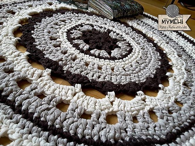 Alfombra redonda mandala crochet de trapillo marrón y beige: Amazon ...
