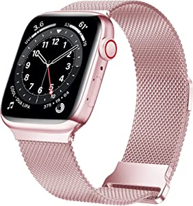 JuQBanke Magnetic Band Compatible with Apple Watch 38mm 40mm, Stainless Steel Mesh Milanese Strap with Adjustable Loop, Metal Wristband for iWatch SE Series 6 5 4 3 2 1 for Women Men, Rose Pink Gold