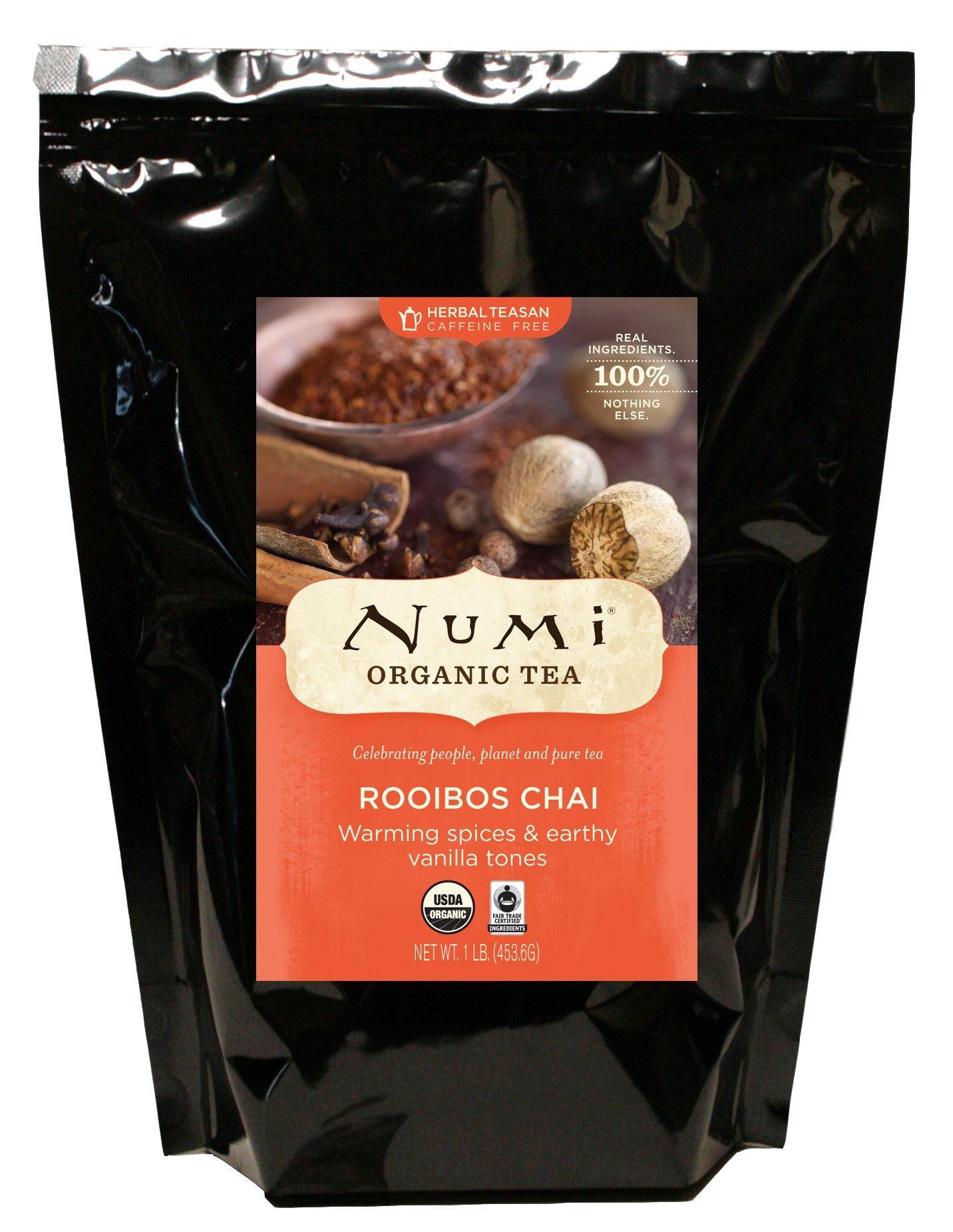 Numi Organic Tea Rooibos Chai, Caffeine Free Herbal Teasan, Loose Leaf, 16 Ounce Bulk Pouch