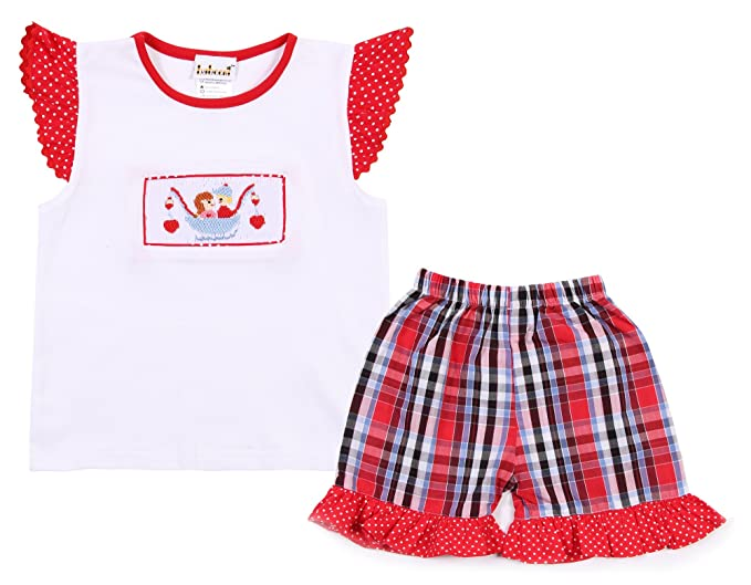 7363d9da3d53 Amazon.com  Babeeni Baby Girl Short Set with Angel Sleeves