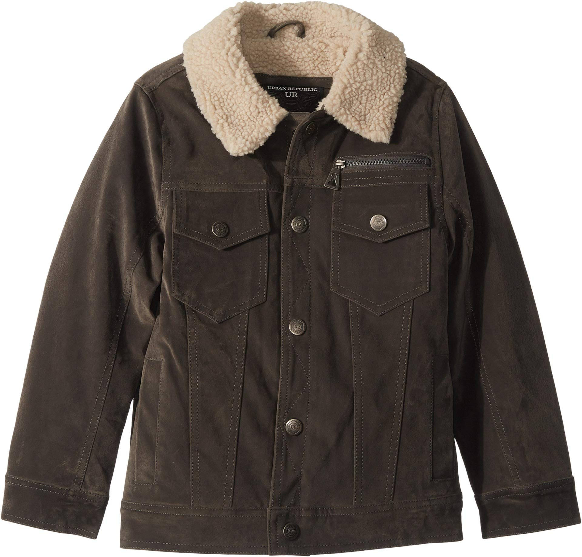 Urban Republic Kids Boy's James PU Suede Sherpa Lined Five-Pocket Jacket (Little Kids/Big Kids) Charcoal 5-6