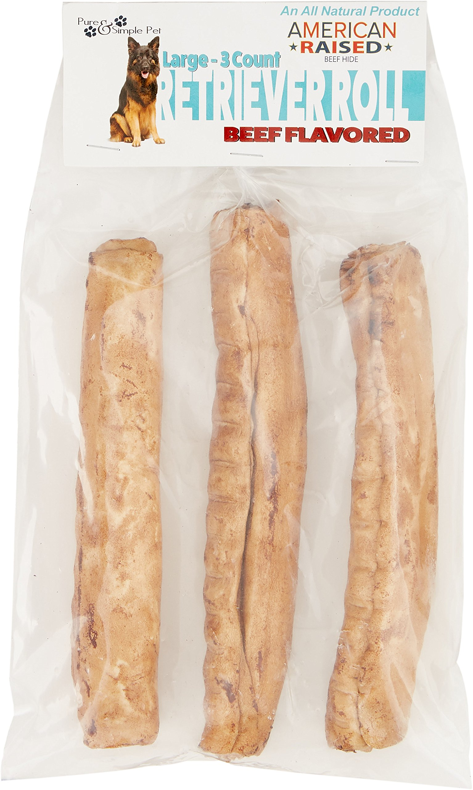 Pure & Simple Pet 6568 8'' Beef Retriever Roll (3 pack), Large