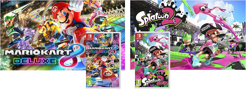 Nintendo Switch Consola 32Gb Azul/Rojo Neón + Mario Kart 8 Deluxe + Splatoon 2: Amazon.es: Videojuegos