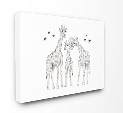 Stupell Industries Giraffe Family Grafite Disegno Xxl Su Tela Wall