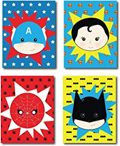 Children Inspire Design Kid's Playroom Decor, Superhero Posters for Kids, Baby Boy Nursery Decor, Superman, Batman, Spiderman, Captain America, Superhero Wall Art