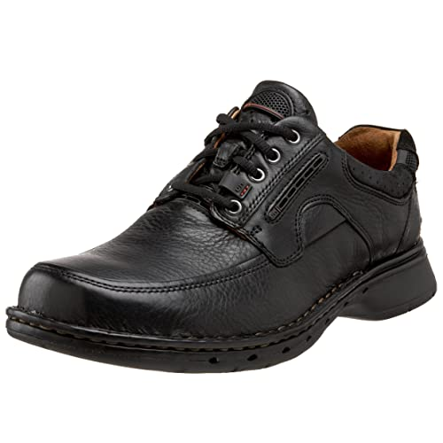 f3a28ecc8611 Unstructured By Clarks Un.Bend Mens Black Wide Leather New Display UK 7.5   Amazon.co.uk  Shoes   Bags