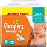 Pampers - Simply Dry - Couches Taille 5 (11-25 kg/Junior) - Jumbo Pack - Lot de 2 (66 x 2 couches)