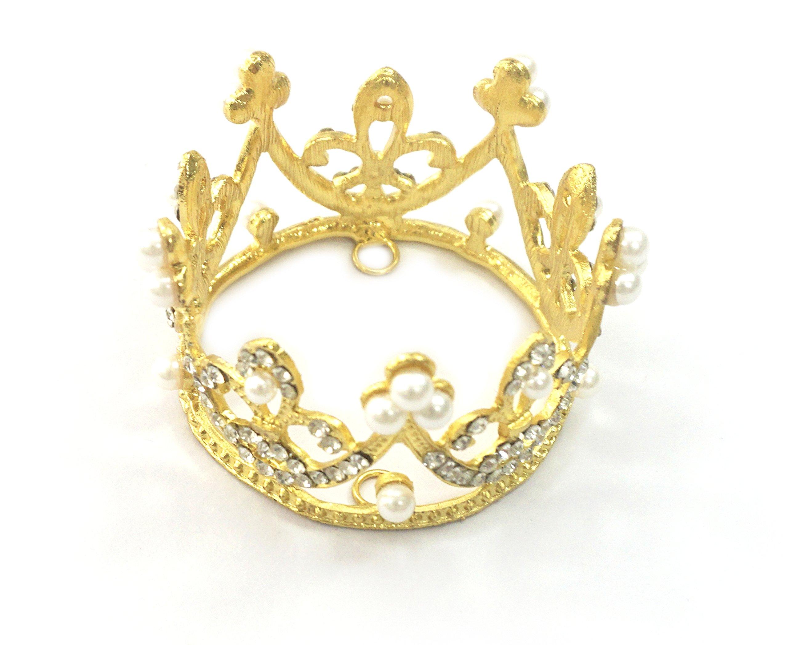 Kuzhi Wedding Party Baby Circle Round Mini Crown Tiara (Gold)