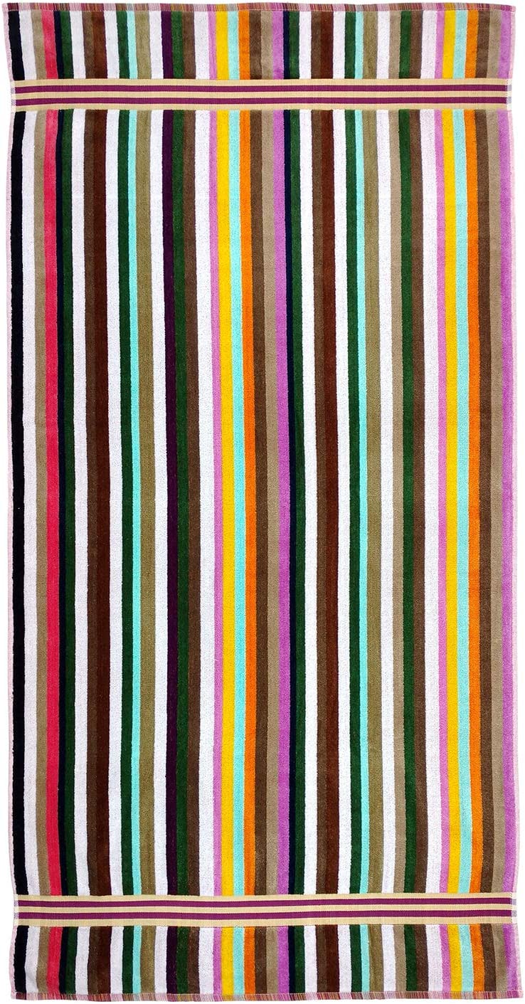 Oversized 32in x 62in, Kaufman - 100/% Cotton Plush and Absorbent Beach Towel. Assorted Colors Multi Stripes Velour Beach Towel 2-Pack