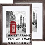 9x12 Picture Frames Wood Rustic Driftwood Brown Display Pictures 6x8 or 5x7 with Mat or 9x12 without Mat - Farmhouse Distress