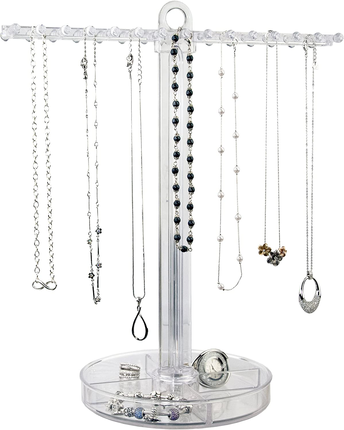 Amazon Com Stori Clear Plastic Necklace Holder With 30 Individual Pegs And Divided Jewelry Tray Home Kitchen