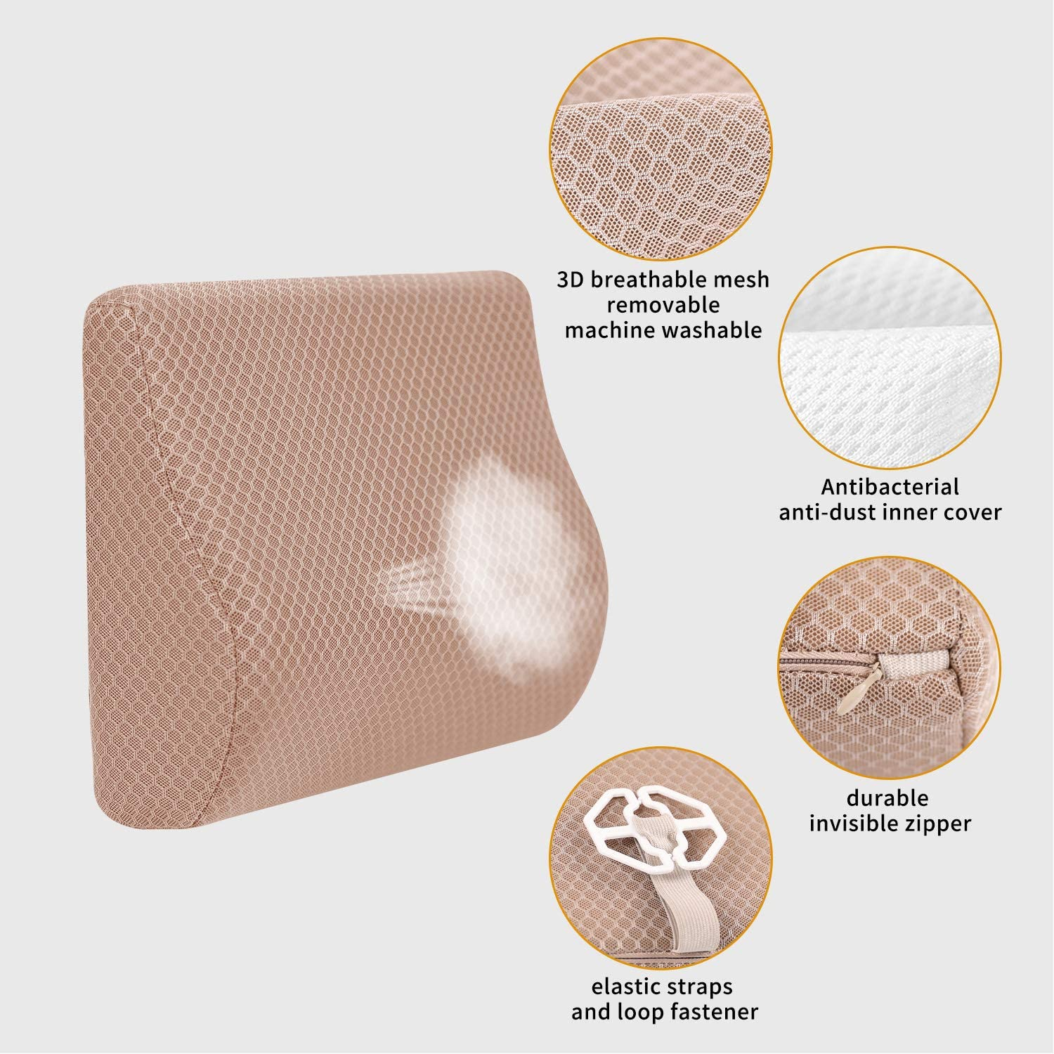 Recliner Etc. TISHIJIE Memory Foam Lumbar Support for Car for Car Seat Beige Office Chair Designed for Mid//Lower Back Pain Relief While Driving