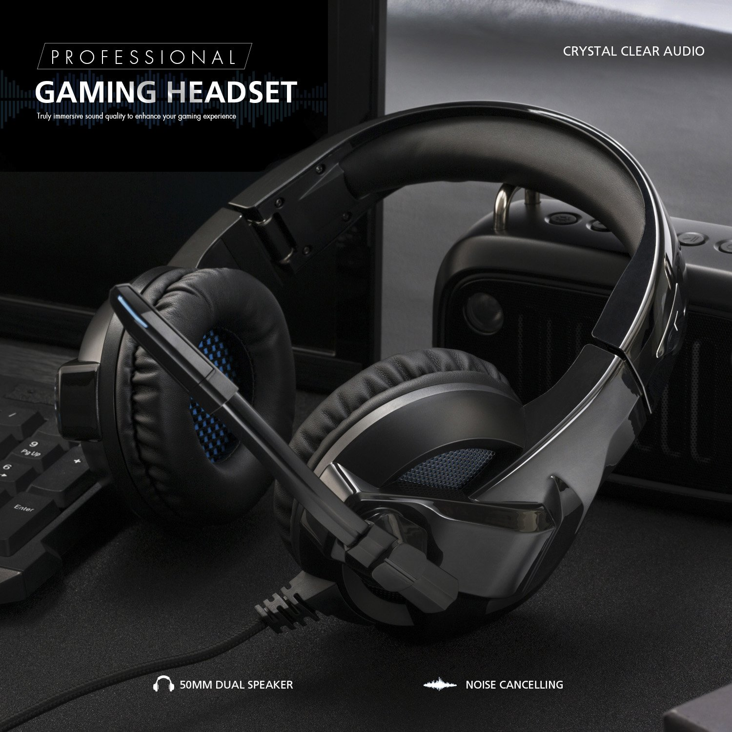 Rimila Stereo Gaming Headset For Ps4 Pc Xbox One Sound Quality Two Output Controller Noise Cancelling Over Ear Headphones With Mic Bass Surround