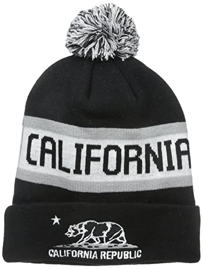 fc59cb8033f Image Unavailable. Image not available for. Color  California Republic Bear Cuff  Pom Pom Beanie Knit Hat ...
