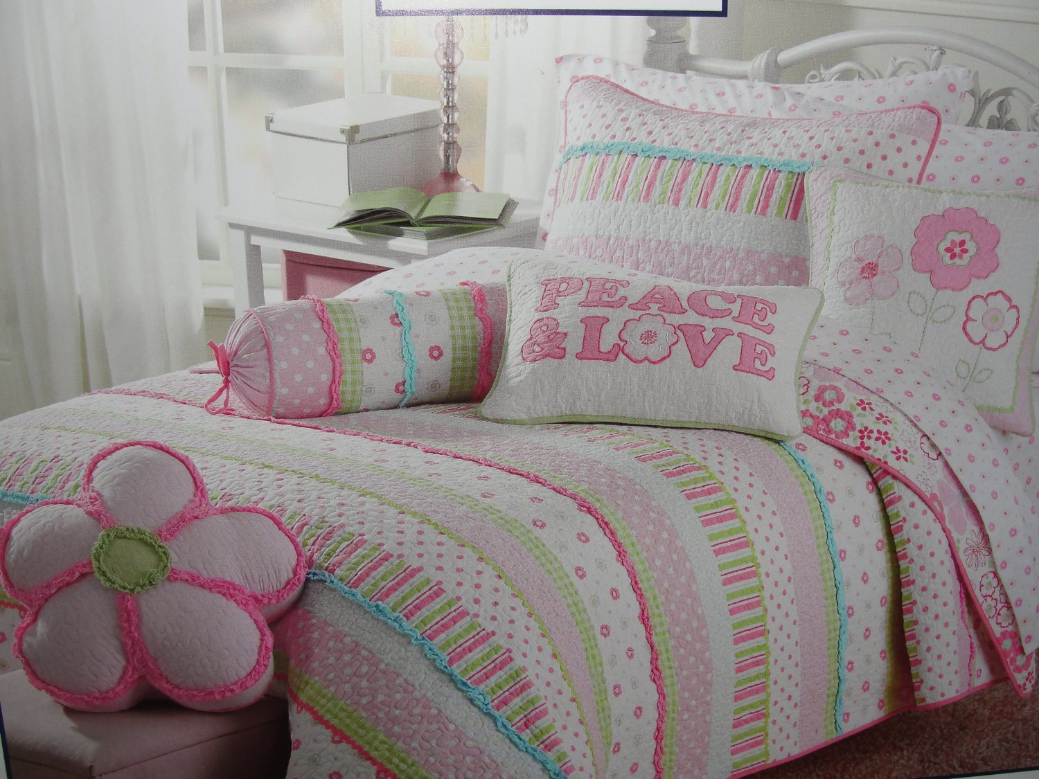Girls pink and pastels cotton quilt set Twin